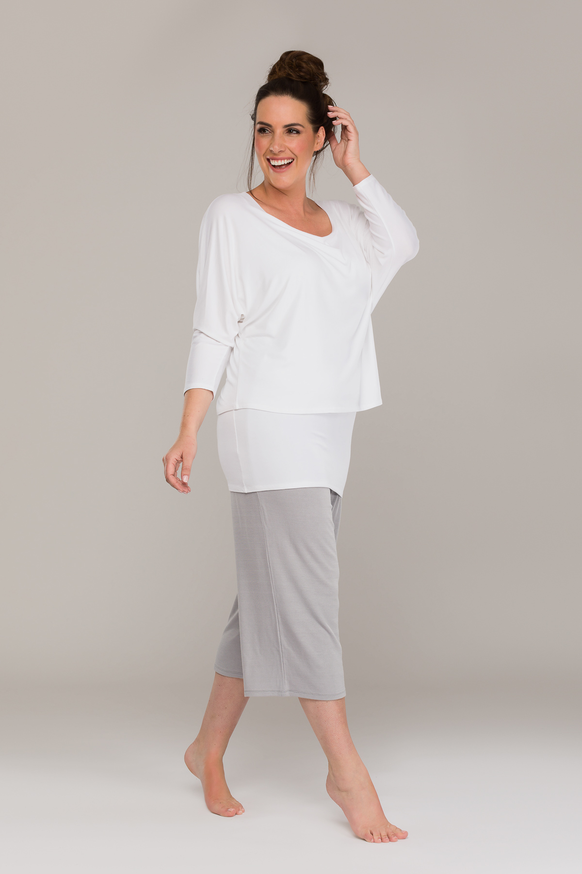 AVA DOUBLE LAYER TOP WHITE