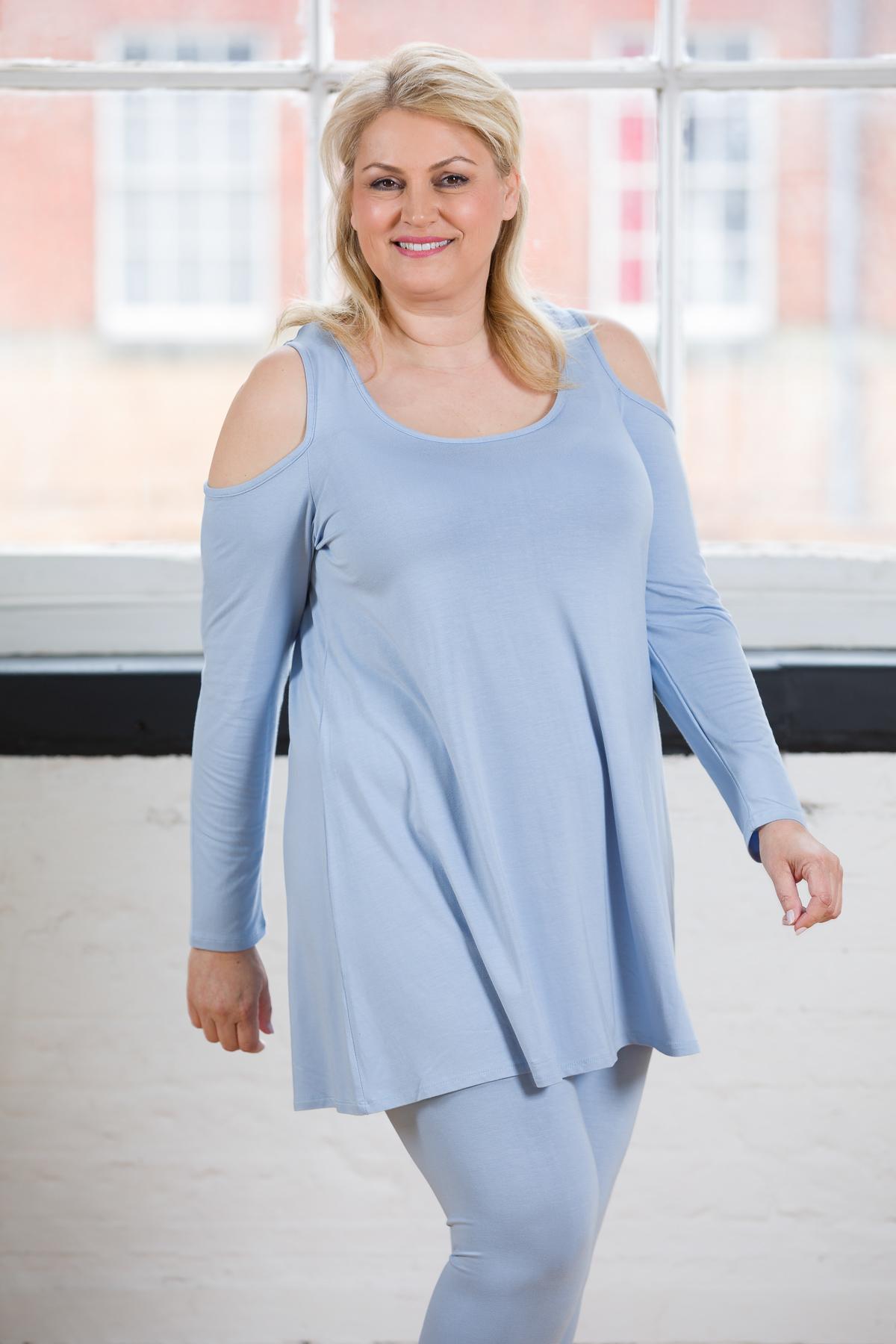 AURORA COLD SHOULDER DRESS LIGHT BLUE
